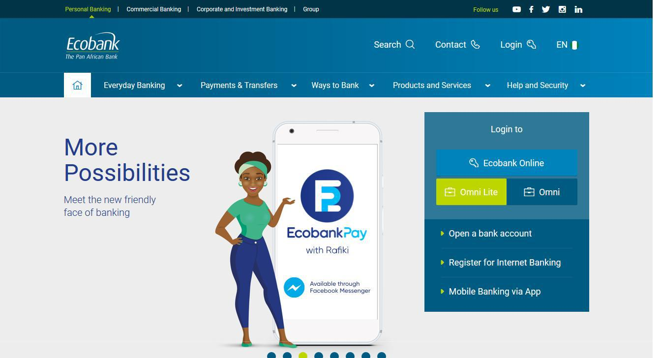 www ecobank com - site is not usable